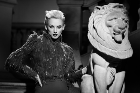 Model and lion